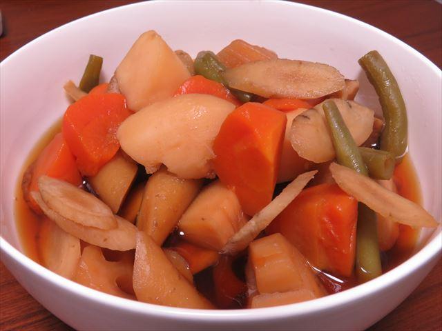 冷凍食品の和風野菜と圧力鍋で簡単肉なし筑前煮