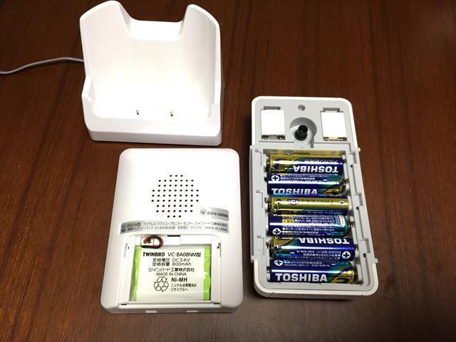ドアスコープモニターDoNaTa(ドナタ)の背面とバッテリー