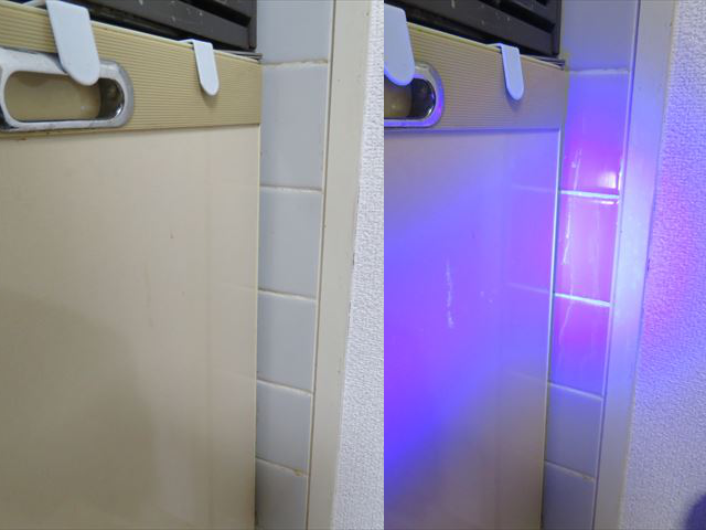 キッチン周りの壁にはねた油もUVライトで簡単に見つけられます