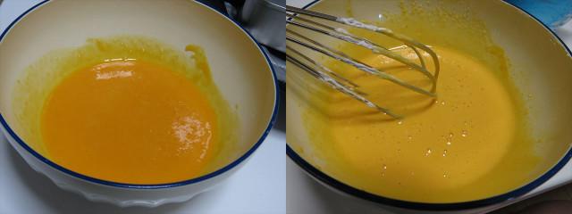 良くかき混ぜて黄色から白っぽい色になった卵黄