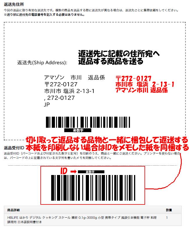 返品受付IDを印刷またはメモした紙を商品に同梱し、返送先へ郵送する