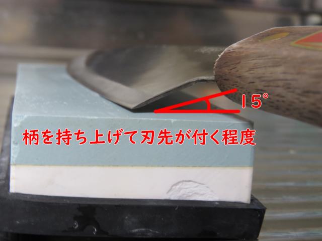 包丁を砥ぐときの角度(15度)