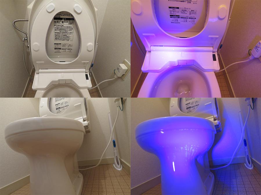 トイレの汚れをUVライトで見る