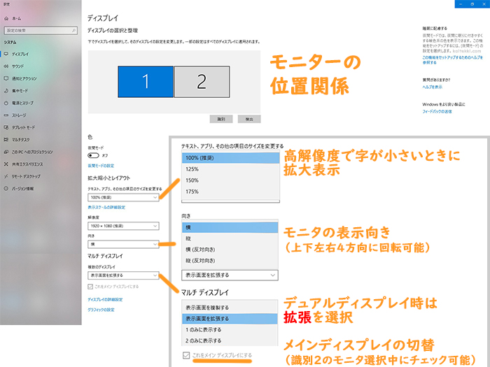 windows10のマルチディスプレイ設定画面