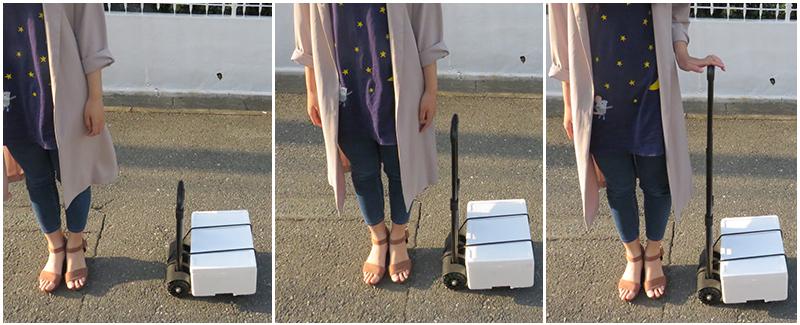 キャリーカートの取っ手は3段階で高さ調節可能