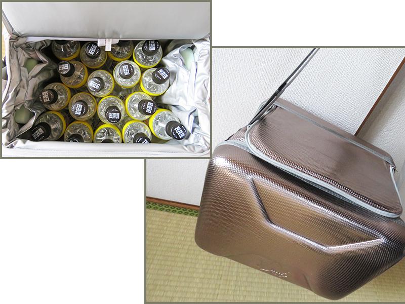 LOGOS(ロゴス)のハイパー氷点下クーラーに氷点下パック2個と500mlペットボトル17本を入れた状態