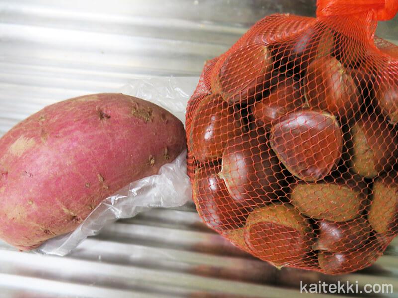 芋栗ご飯の材料の芋と栗